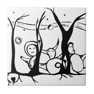 Nalo, Malo and Palo in the forest Ceramic Tile