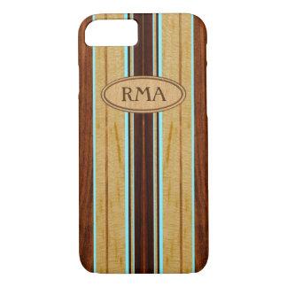 Nalu Hou Faux Koa Wood Monogram Surfboard iPhone 7 Case