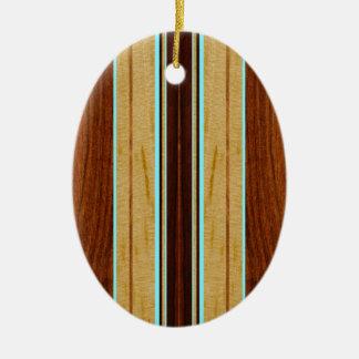 Nalu Hou Faux Koa Wood Surfboard Double-Sided Oval Ceramic Christmas Ornament
