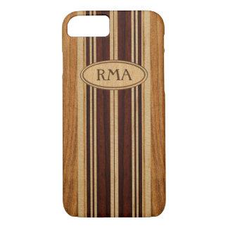Nalu Lua Faux Koa Wood Monogram Surfboard iPhone 8/7 Case
