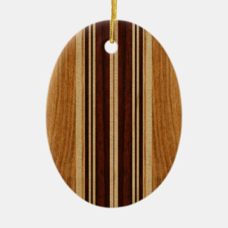 Nalu Lua Faux Koa Wood Surfboard Ceramic Ornament