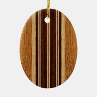 Nalu Lua Faux Koa Wood Surfboard Double-Sided Oval Ceramic Christmas Ornament