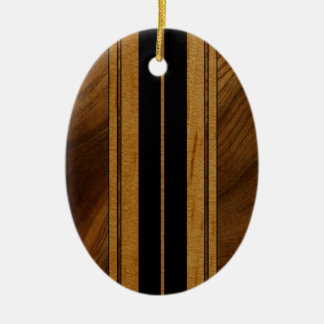 Nalu Mua Faux Koa Wood Surfboard Double-Sided Oval Ceramic Christmas Ornament