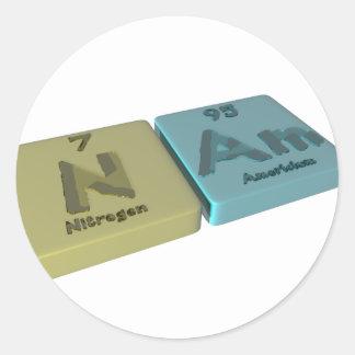 Nam as Nitrogen N and Americium Am Classic Round Sticker