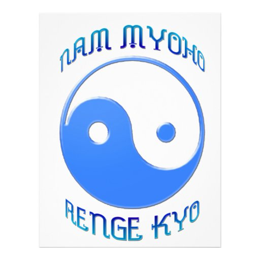 """""""Nam Myoho Renge Kyo"""" Buddhism de Yin y de Yang Folleto 8.5"""" X 11"""""""