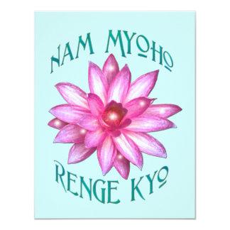 """Nam Myoho Renge Kyo con el diseño floral de Lotus Invitación 4.25"""" X 5.5"""""""