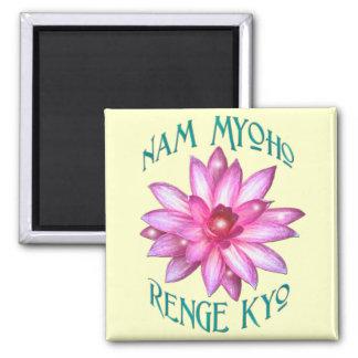 Nam Myoho Renge Kyo with Lotus Flower Design 2 Inch Square Magnet