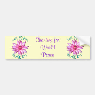Nam Myoho Renge Kyo with Lotus Flower Design Bumper Sticker