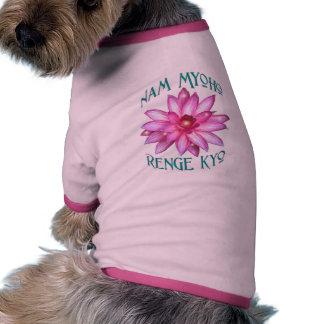 Nam Myoho Renge Kyo with Lotus Flower Design Pet T Shirt