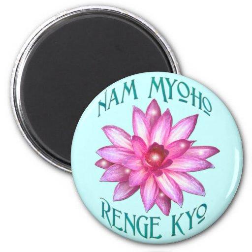Nam Myoho Renge Kyo with Lotus Flower Design Refrigerator Magnets