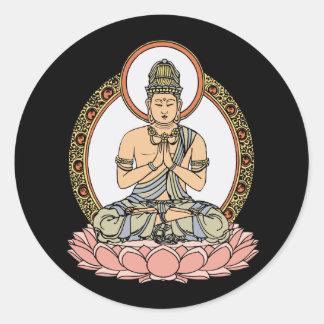 Namaskara Mudra Buddha Classic Round Sticker