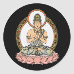 Namaskara Mudra Buddha Round Sticker