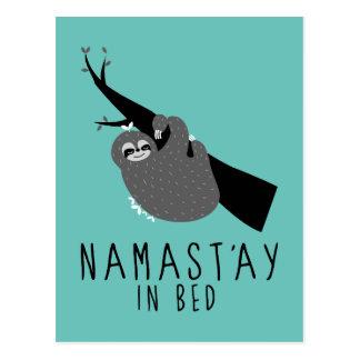 namast'ay in bed sloth postcard