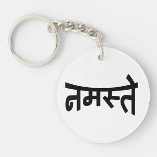 Namaste (नमस्ते) - escritura de Devanagari Llavero Redondo Acrílico A Doble Cara