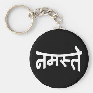 Namaste (नमस्ते) - escritura de Devanagari Llavero Redondo Tipo Pin