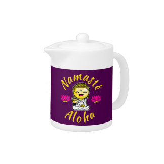 Namaste Aloha hand sign Buddha Humour Teapot