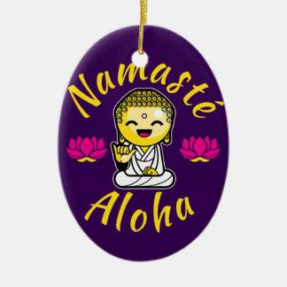 Namaste Aloha hand sign smiling Buddha Humour Ceramic Ornament