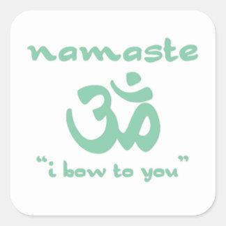 Namaste - arqueo a usted (en verde) pegatinas cuadradas