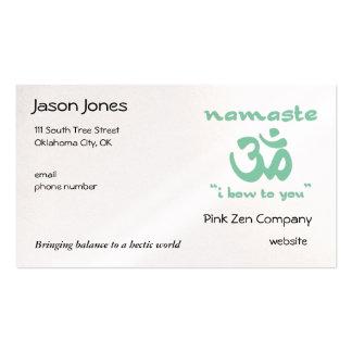 Namaste - arqueo a usted (en verde) tarjetas de visita