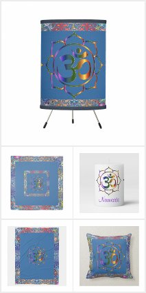 Namaste Aum Om Lotus with Rainbow Vintage Border