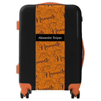 NAMASTE black seamless pattern with LINES Luggage