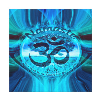 Namaste Blue Glow Stretched Canvas Print