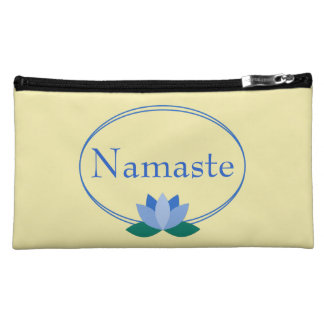 Namaste | Blue Lotus Flower on Yellow Makeup Bag