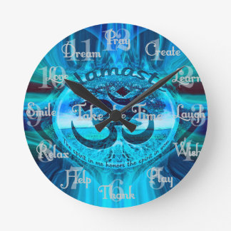Namaste Blue Rainbow Round Clock