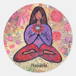 Namaste Brown Haired Yoga Girl Sticker
