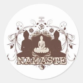 Namaste Buddha Classic Round Sticker