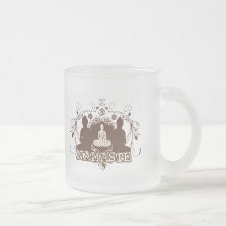 Namaste Buddha Frosted Glass Coffee Mug