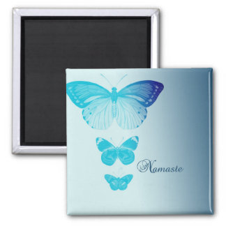 Namaste Butterflies 2 Inch Square Magnet