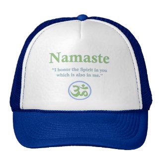 Namaste - con cita y símbolo de OM Gorros