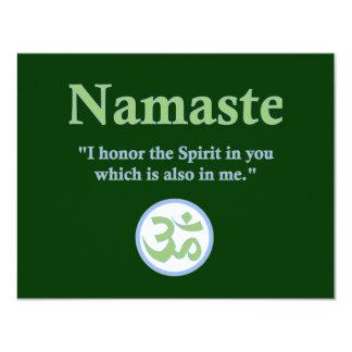 Namaste - con cita y símbolo de OM Invitación 10,8 X 13,9 Cm