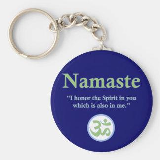 Namaste - con cita y símbolo de OM Llavero Redondo Tipo Pin
