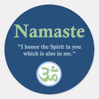 Namaste - con cita y símbolo de OM Pegatina Redonda