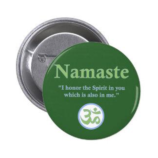 Namaste - con cita y símbolo de OM Pin Redondo 5 Cm