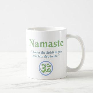 Namaste - con cita y símbolo de OM Taza