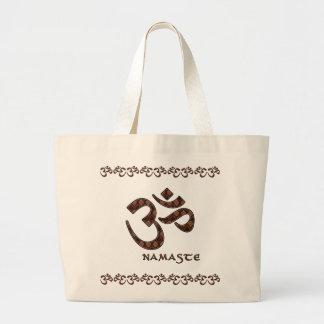 Namaste con el símbolo Brown de OM y la crema Bolsa Tela Grande