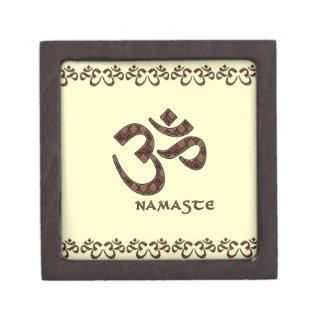 Namaste con el símbolo Brown de OM y la crema Caja De Regalo De Calidad
