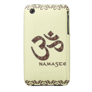 Namaste con el símbolo Brown de OM y la crema Case-Mate iPhone 3 Coberturas
