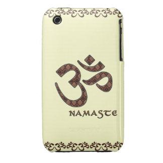 Namaste con el símbolo Brown de OM y la crema Case-Mate iPhone 3 Funda