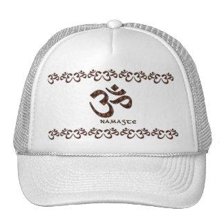 Namaste con el símbolo Brown de OM y la crema Gorros