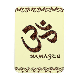 Namaste con el símbolo Brown de OM y la crema Iman De Vinilo