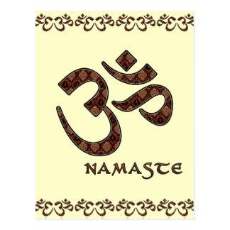 Namaste con el símbolo Brown de OM y la crema Postales