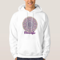 Namaste Cute pink and purple floral mandala Hoodie