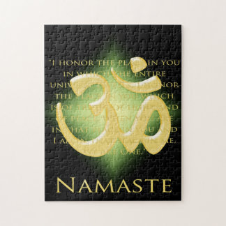 Namaste Definition with Om Symbol - on Black Puzzles