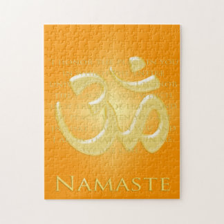 Namaste Definition with Om Symbol - on Orange Puzzle