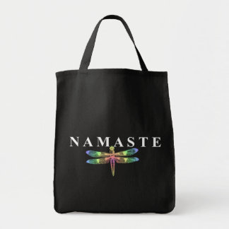 Namaste Dragonfly (Dark Background) Tote Bag