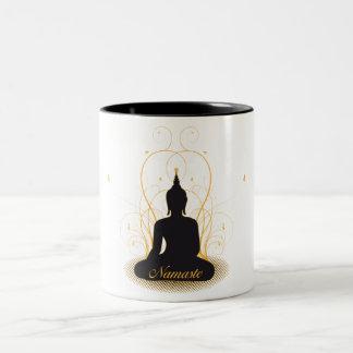 Namaste elegante Buda Taza Dos Tonos